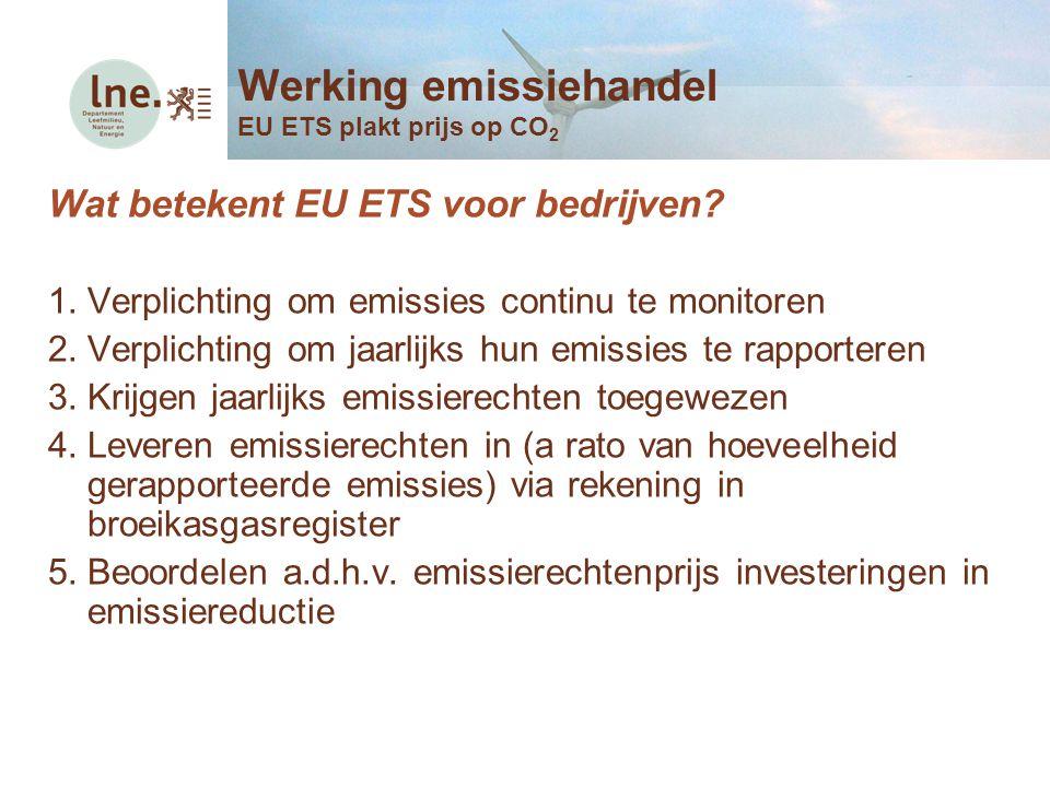 Wat betekent EU ETS voor bedrijven? 1.Verplichting om emissies continu te monitoren 2.Verplichting om jaarlijks hun emissies te rapporteren 3.Krijgen