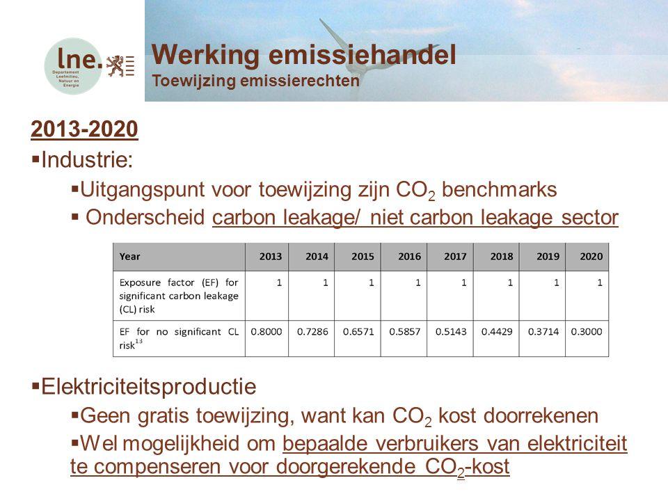 2013-2020  Industrie:  Uitgangspunt voor toewijzing zijn CO 2 benchmarks  Onderscheid carbon leakage/ niet carbon leakage sector  Elektriciteitspr