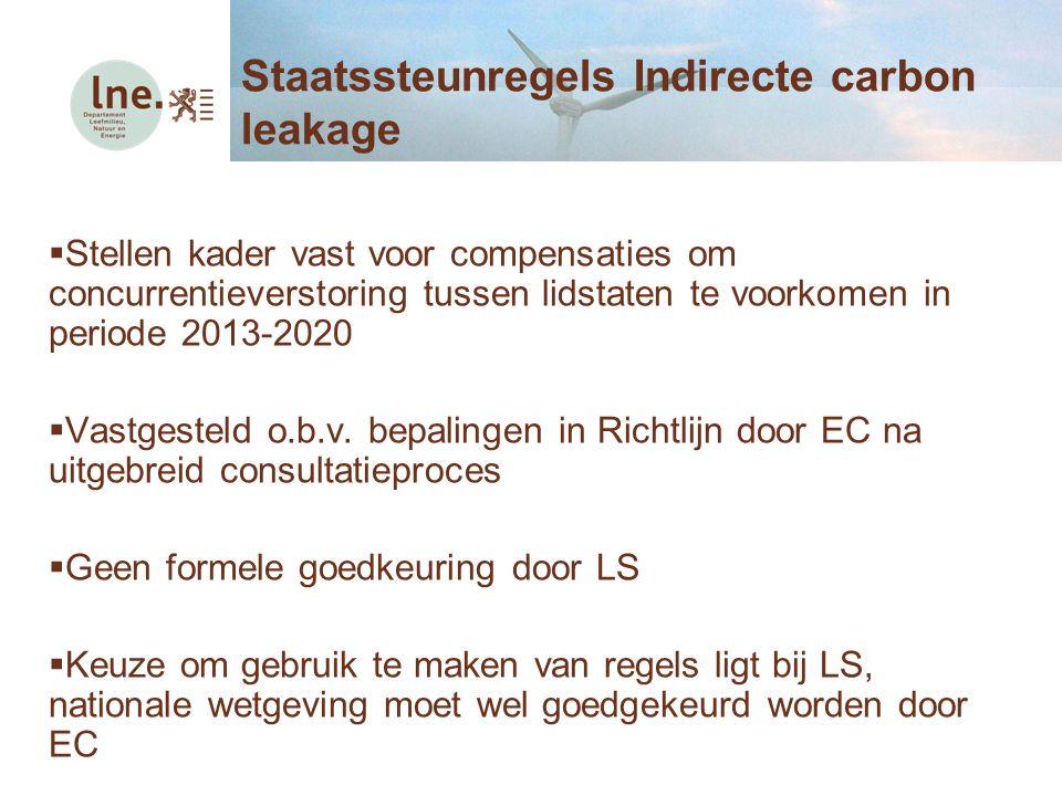  Stellen kader vast voor compensaties om concurrentieverstoring tussen lidstaten te voorkomen in periode 2013-2020  Vastgesteld o.b.v. bepalingen in