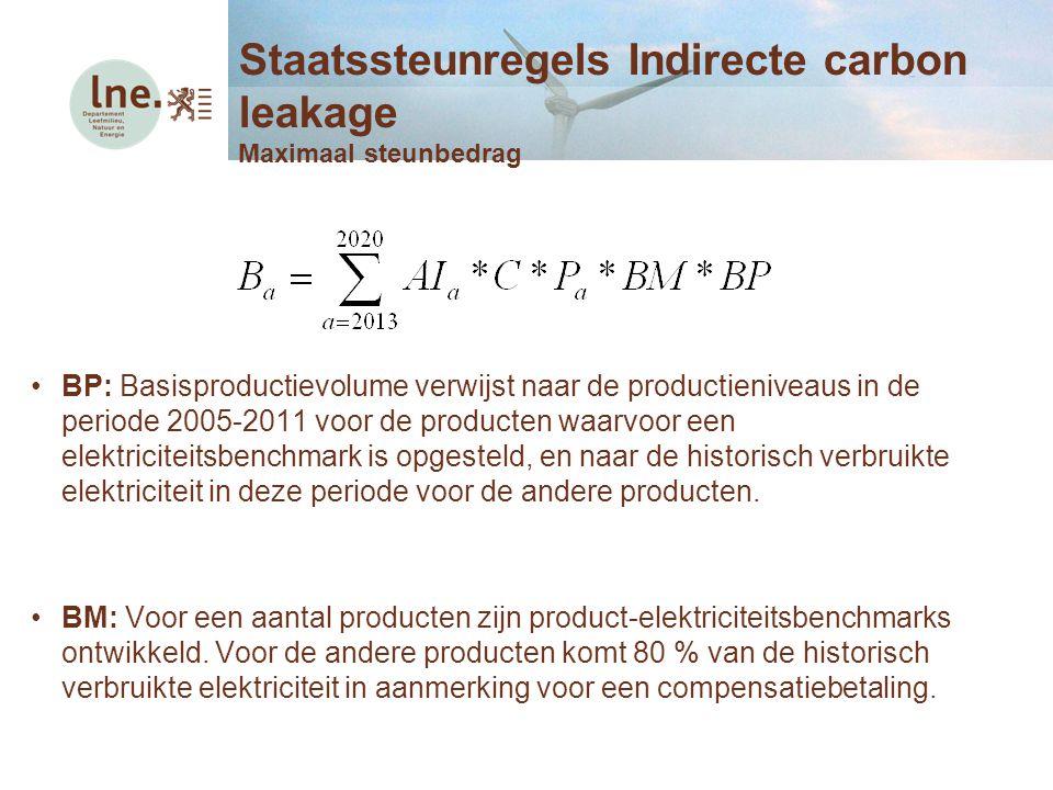 BP: Basisproductievolume verwijst naar de productieniveaus in de periode 2005-2011 voor de producten waarvoor een elektriciteitsbenchmark is opgesteld