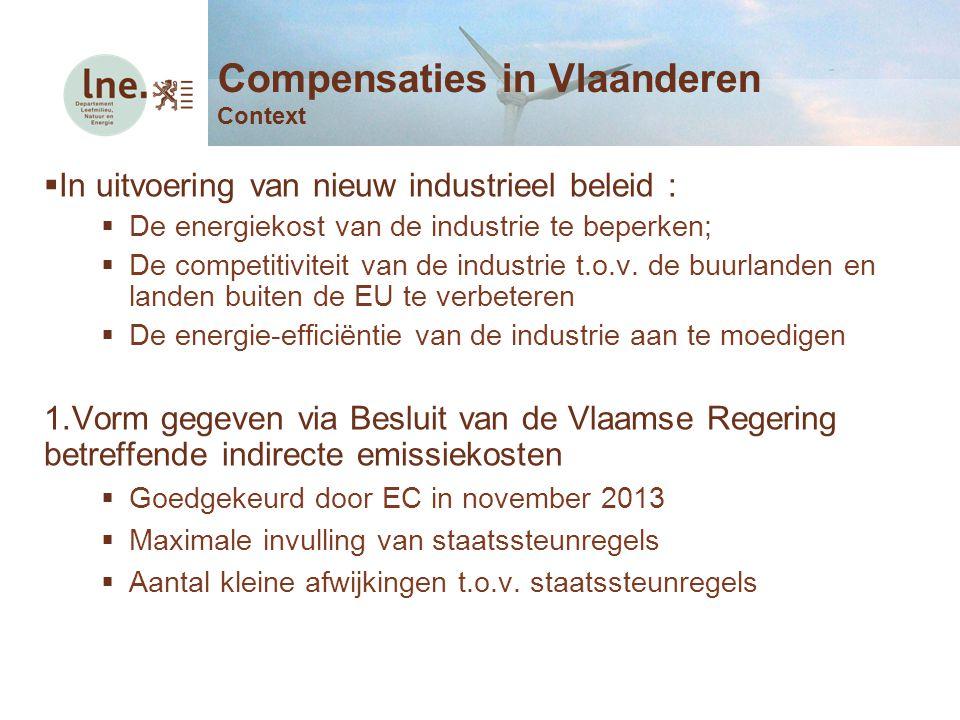  In uitvoering van nieuw industrieel beleid :  De energiekost van de industrie te beperken;  De competitiviteit van de industrie t.o.v. de buurland