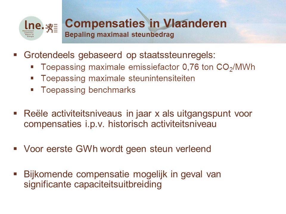  Grotendeels gebaseerd op staatssteunregels:  Toepassing maximale emissiefactor 0,76 ton CO 2 /MWh  Toepassing maximale steunintensiteiten  Toepas
