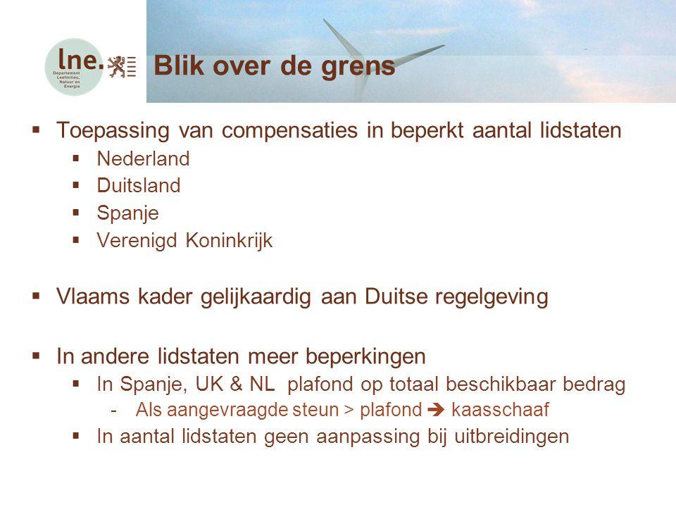  Toepassing van compensaties in beperkt aantal lidstaten  Nederland  Duitsland  Spanje  Verenigd Koninkrijk  Vlaams kader gelijkaardig aan Duits