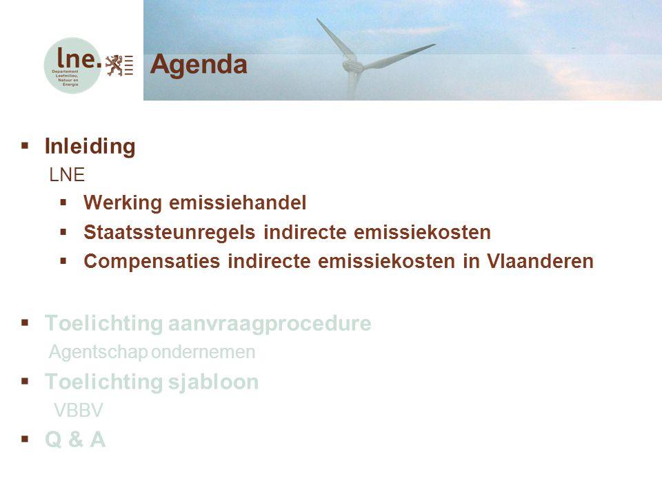  Inleiding LNE  Werking emissiehandel  Staatssteunregels indirecte emissiekosten  Compensaties indirecte emissiekosten in Vlaanderen  Toelichting