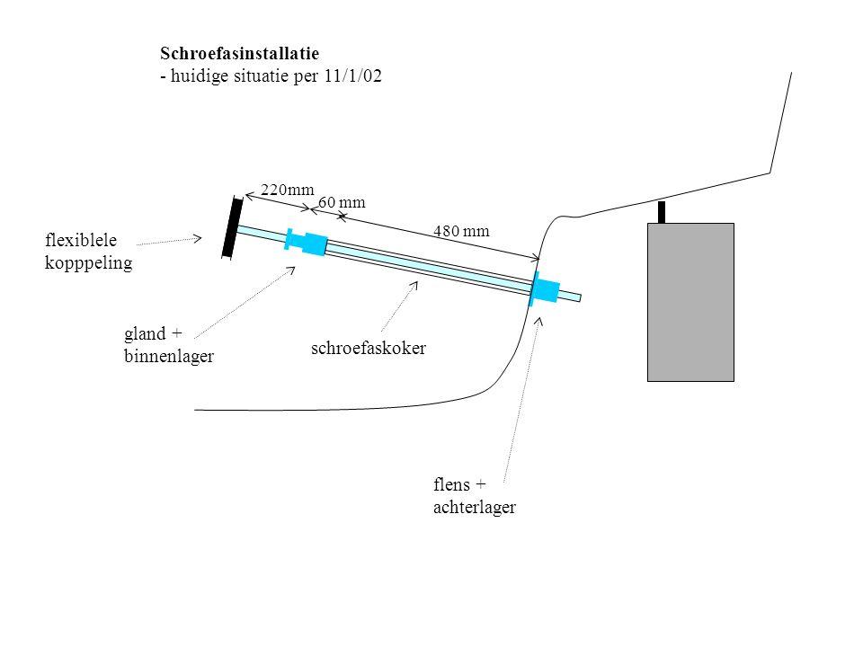 flens schroefaskoker Detail achterlager - achterflens geborgd op kiel met 2 bouten - schroefaskoker steekt +-2cm uit kiel - achterflens wordt op koker geschroefd - breuklijn in oranje achterlager