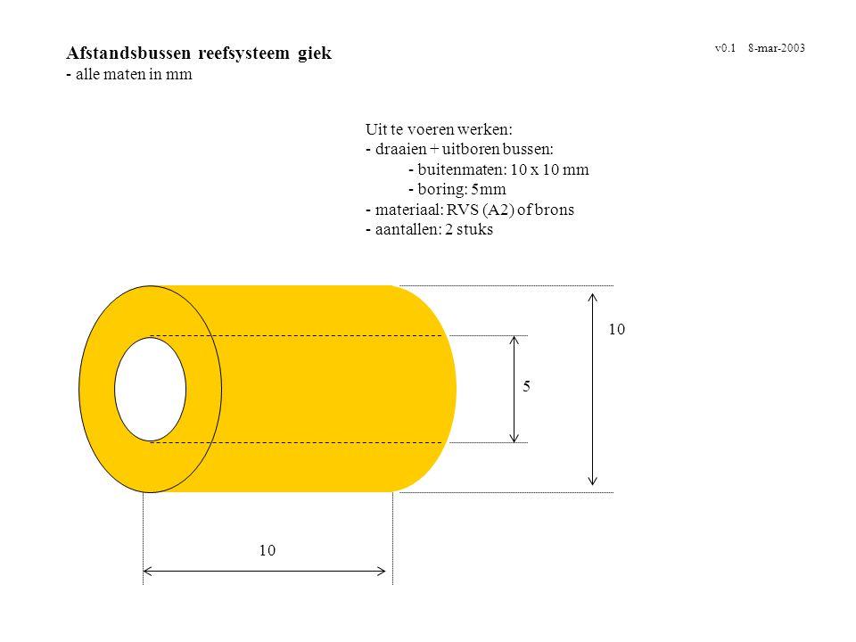 Afdekkapje kacheluitlaat - alle maten in mm v0.2 30-jun-2003 Uit te voeren werken: - buis waarop volle schijf gelast wordt - materiaal: RVS (A2) - aantal: 1 * binnendiameter buis !!.
