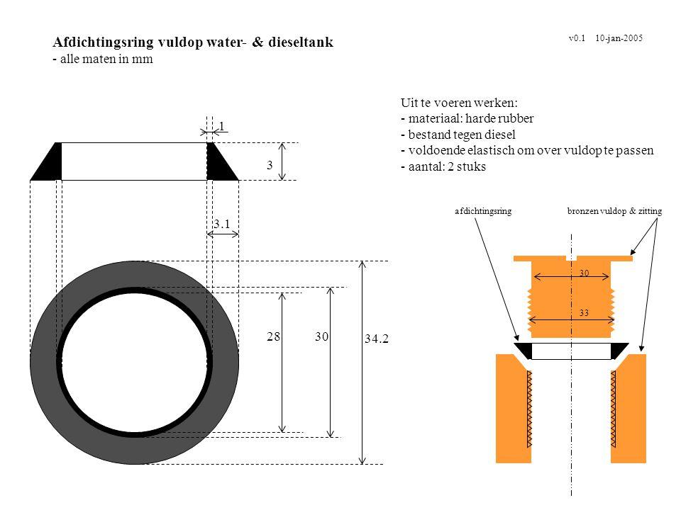 Afdichtingsring vuldop water- & dieseltank - alle maten in mm v0.1 10-jan-2005 Uit te voeren werken: - materiaal: harde rubber - bestand tegen diesel
