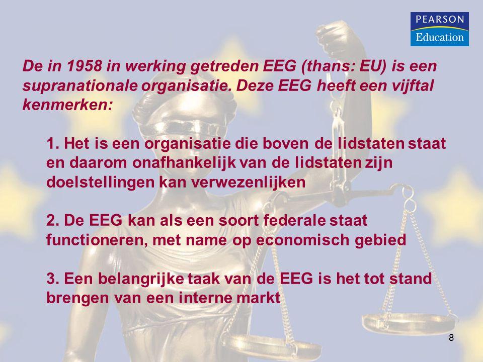 8 De in 1958 in werking getreden EEG (thans: EU) is een supranationale organisatie. Deze EEG heeft een vijftal kenmerken: 1. Het is een organisatie di