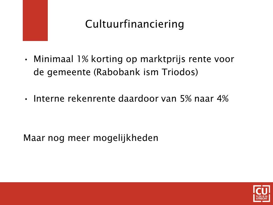 Cultuurfinanciering Minimaal 1% korting op marktprijs rente voor de gemeente (Rabobank ism Triodos) Interne rekenrente daardoor van 5% naar 4% Maar nog meer mogelijkheden