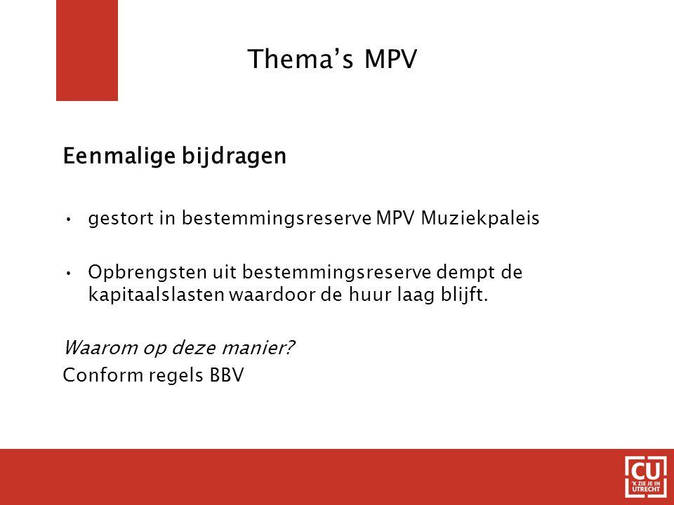 Thema's MPV Eenmalige bijdragen gestort in bestemmingsreserve MPV Muziekpaleis Opbrengsten uit bestemmingsreserve dempt de kapitaalslasten waardoor de huur laag blijft.