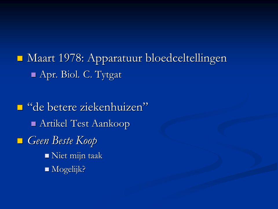 """Maart 1978: Apparatuur bloedceltellingen Maart 1978: Apparatuur bloedceltellingen Apr. Biol. C. Tytgat Apr. Biol. C. Tytgat """"de betere ziekenhuizen"""" """""""