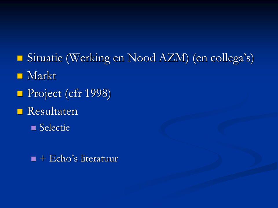 Situatie (Werking en Nood AZM) (en collega's) Situatie (Werking en Nood AZM) (en collega's) Markt Markt Project (cfr 1998) Project (cfr 1998) Resultat