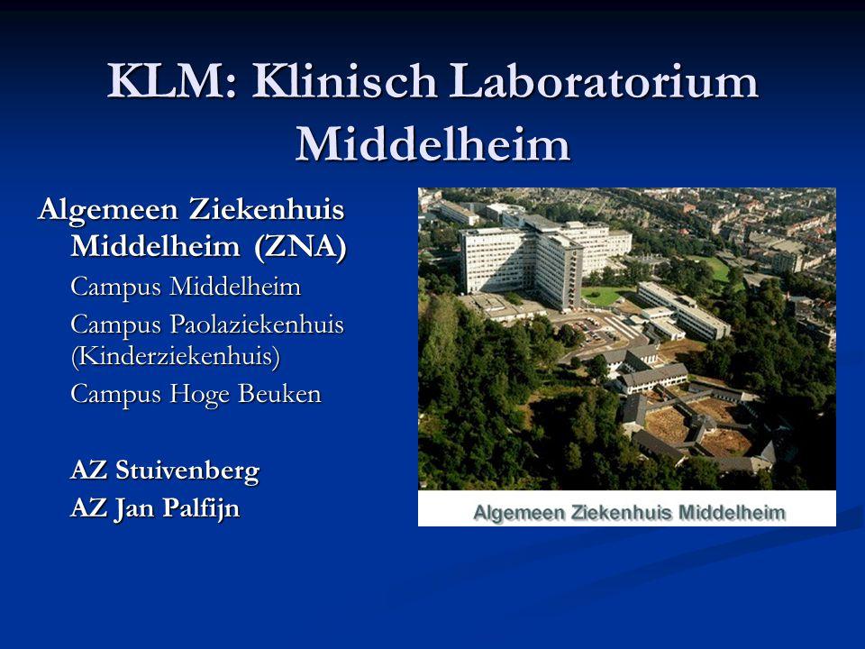 KLM: Klinisch Laboratorium Middelheim Algemeen Ziekenhuis Middelheim (ZNA) Campus Middelheim Campus Paolaziekenhuis (Kinderziekenhuis) Campus Hoge Beu
