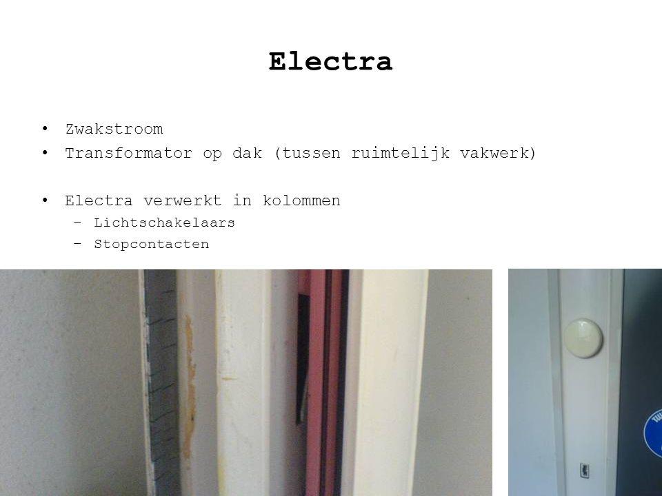 Electra Zwakstroom Transformator op dak (tussen ruimtelijk vakwerk) Electra verwerkt in kolommen –Lichtschakelaars –Stopcontacten