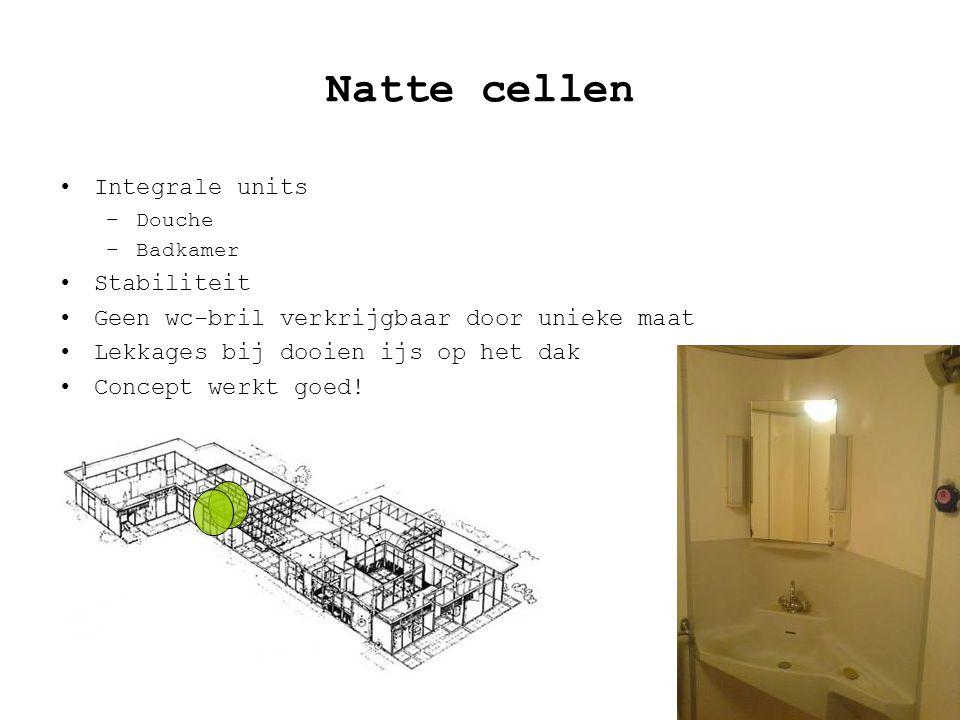 Natte cellen Integrale units –Douche –Badkamer Stabiliteit Geen wc-bril verkrijgbaar door unieke maat Lekkages bij dooien ijs op het dak Concept werkt