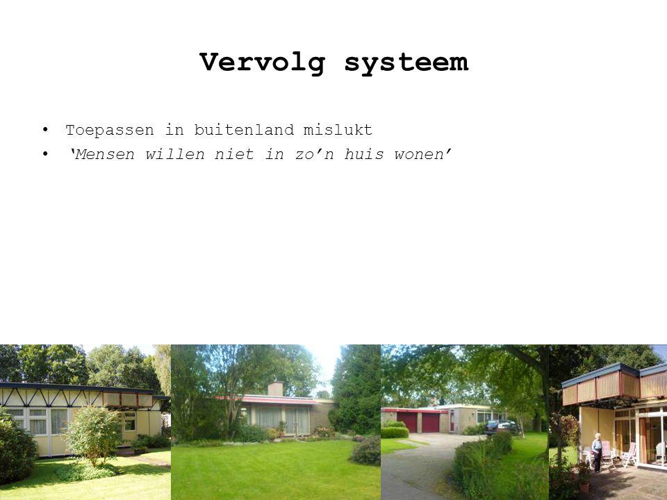 Vervolg systeem Toepassen in buitenland mislukt 'Mensen willen niet in zo'n huis wonen'