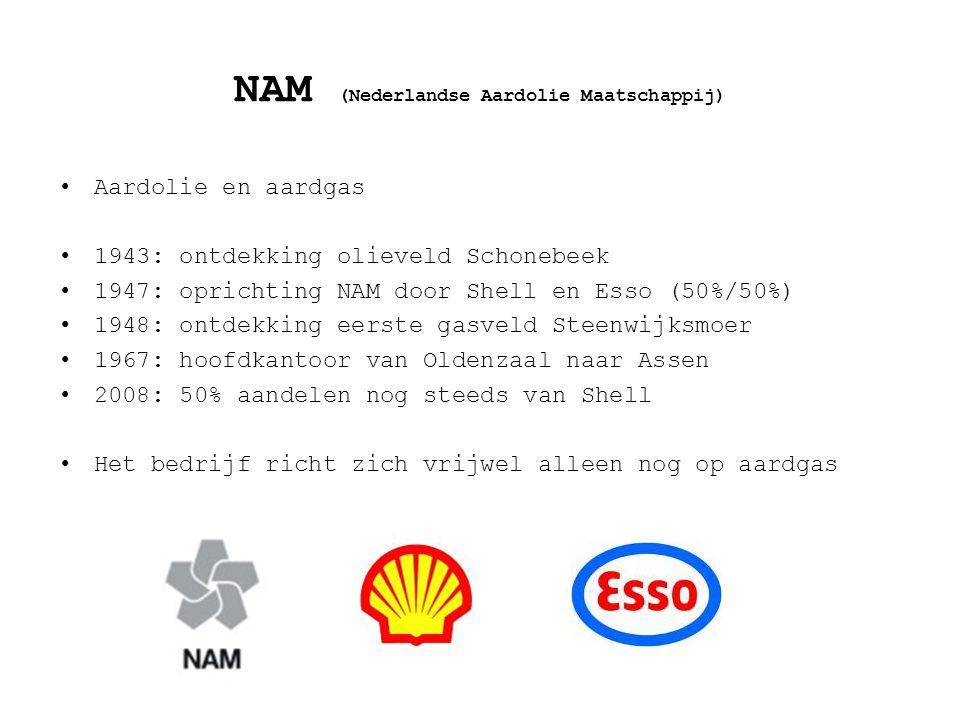 NAM (Nederlandse Aardolie Maatschappij) Aardolie en aardgas 1943: ontdekking olieveld Schonebeek 1947: oprichting NAM door Shell en Esso (50%/50%) 194