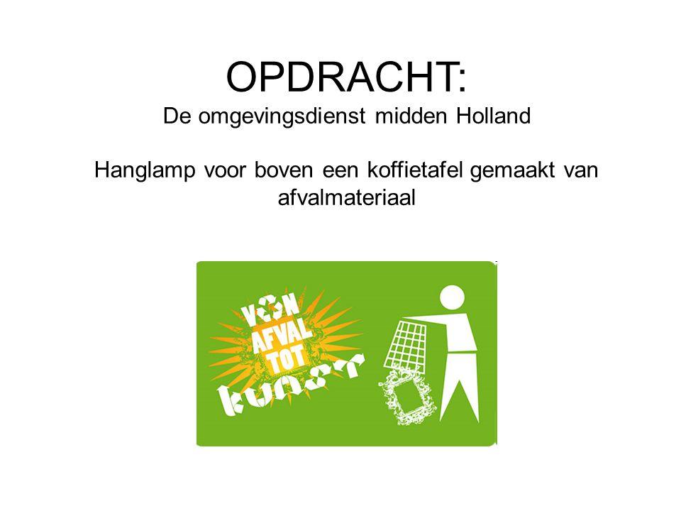 OPDRACHT: De omgevingsdienst midden Holland Hanglamp voor boven een koffietafel gemaakt van afvalmateriaal
