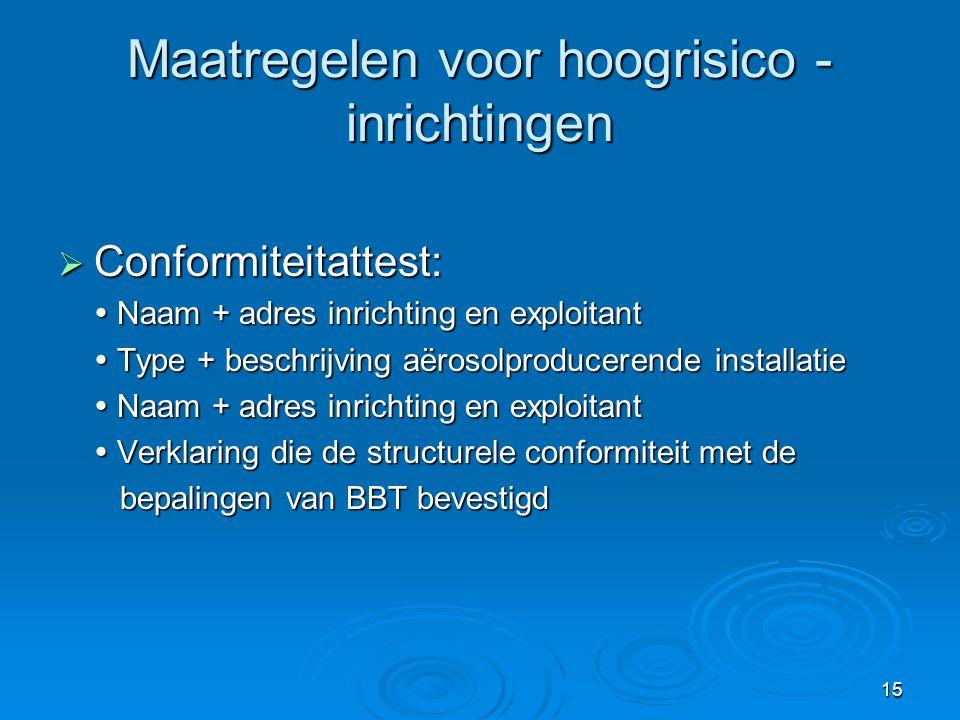 15 Maatregelen voor hoogrisico - inrichtingen  Conformiteitattest:  Naam + adres inrichting en exploitant  Type + beschrijving aërosolproducerende
