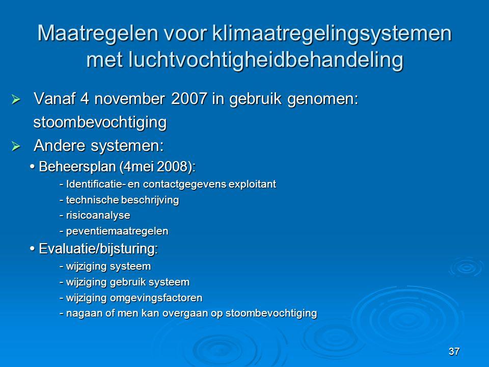 37 Maatregelen voor klimaatregelingsystemen met luchtvochtigheidbehandeling  Vanaf 4 november 2007 in gebruik genomen: stoombevochtiging stoombevocht