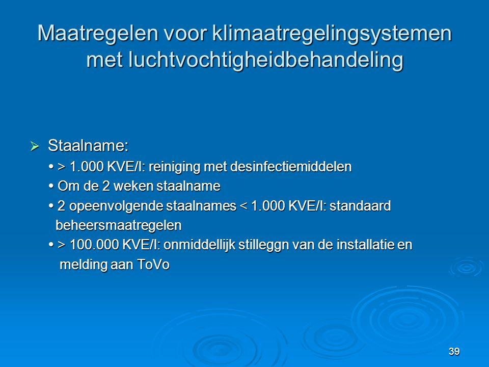 39 Maatregelen voor klimaatregelingsystemen met luchtvochtigheidbehandeling  Staalname:  > 1.000 KVE/l: reiniging met desinfectiemiddelen  Om de 2