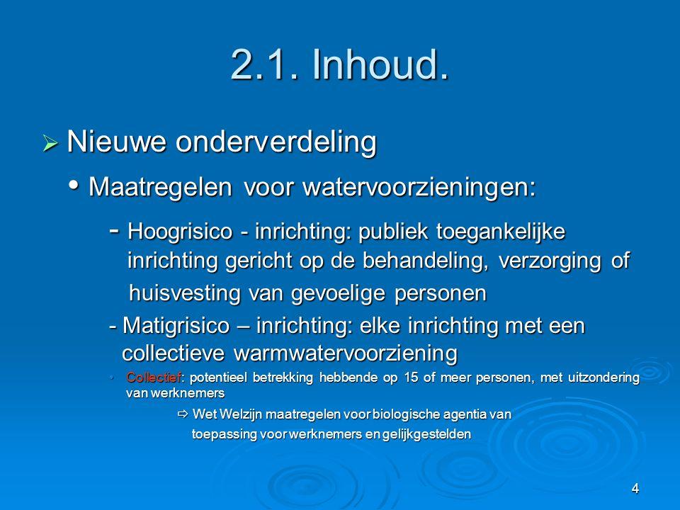 4 2.1. Inhoud.  Nieuwe onderverdeling  Maatregelen voor watervoorzieningen: - Hoogrisico - inrichting: publiek toegankelijke inrichting gericht op d
