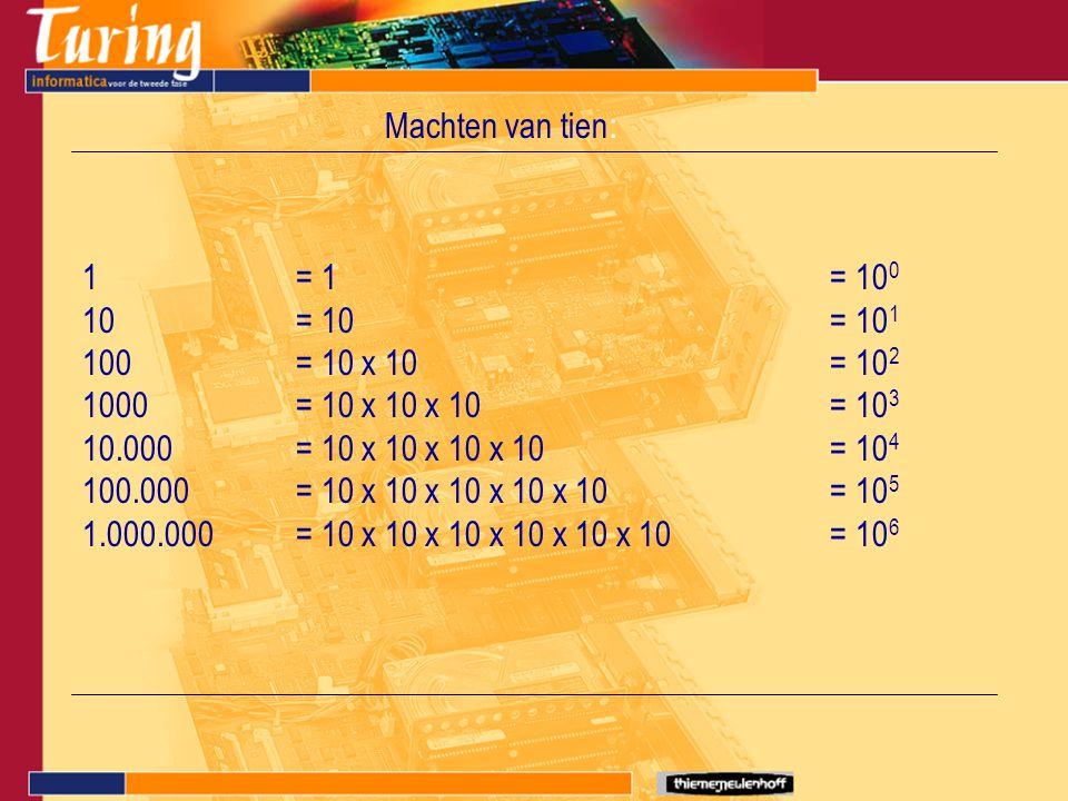Machten van tien : 1= 1= 10 0 10= 10= 10 1 100= 10 x 10= 10 2 1000= 10 x 10 x 10= 10 3 10.000= 10 x 10 x 10 x 10= 10 4 100.000= 10 x 10 x 10 x 10 x 10