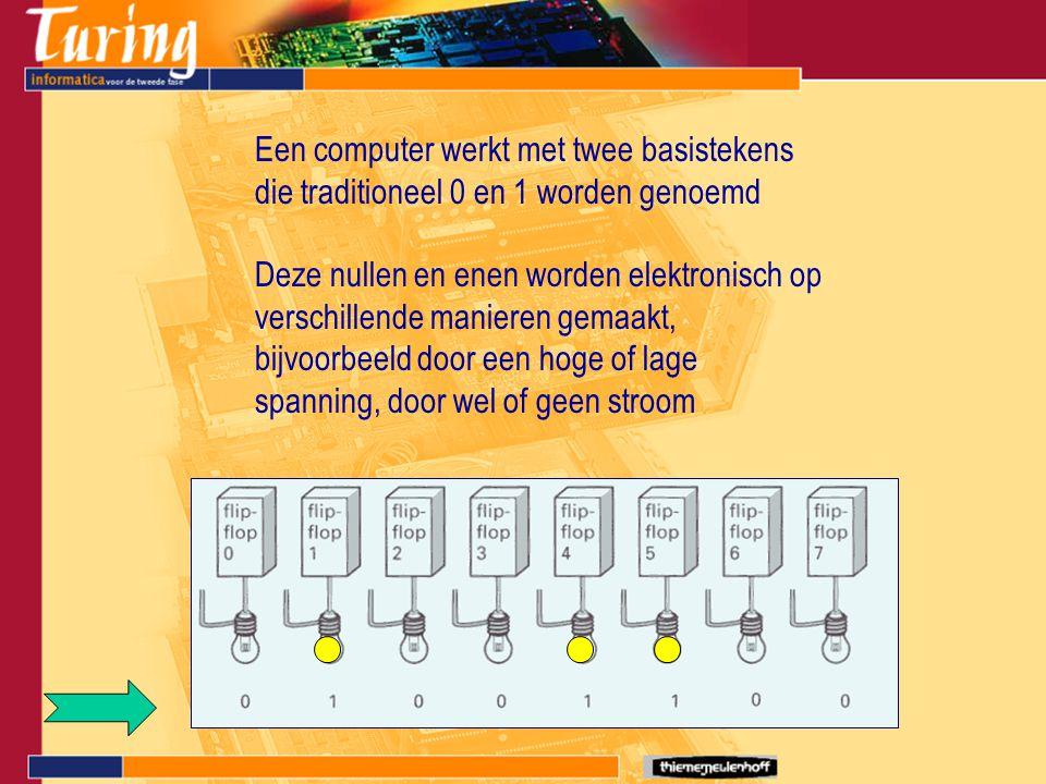 Een computer werkt met twee basistekens die traditioneel 0 en 1 worden genoemd Deze nullen en enen worden elektronisch op verschillende manieren gemaa