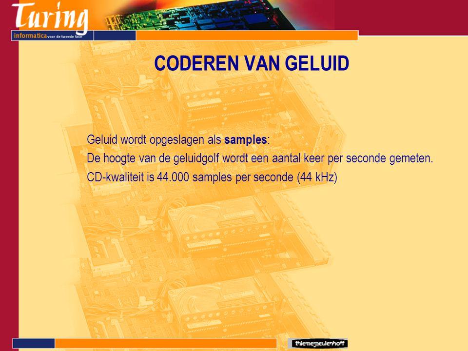 CODEREN VAN GELUID Geluid wordt opgeslagen als samples : De hoogte van de geluidgolf wordt een aantal keer per seconde gemeten. CD-kwaliteit is 44.000