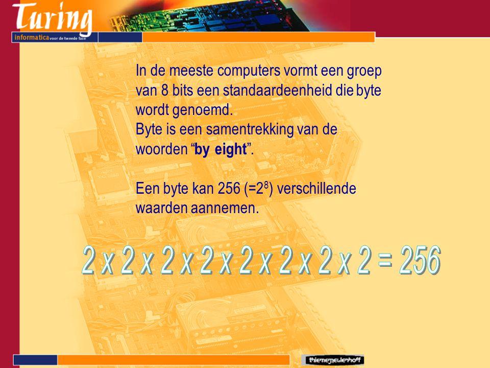 """In de meeste computers vormt een groep van 8 bits een standaardeenheid die byte wordt genoemd. Byte is een samentrekking van de woorden """" by eight """"."""