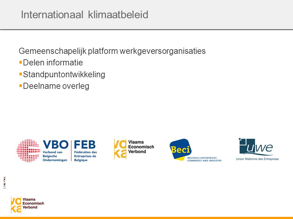 Voka titel 2 Internationaal klimaatbeleid Gemeenschapelijk platform werkgeversorganisaties  Delen informatie  Standpuntontwikkeling  Deelname overleg
