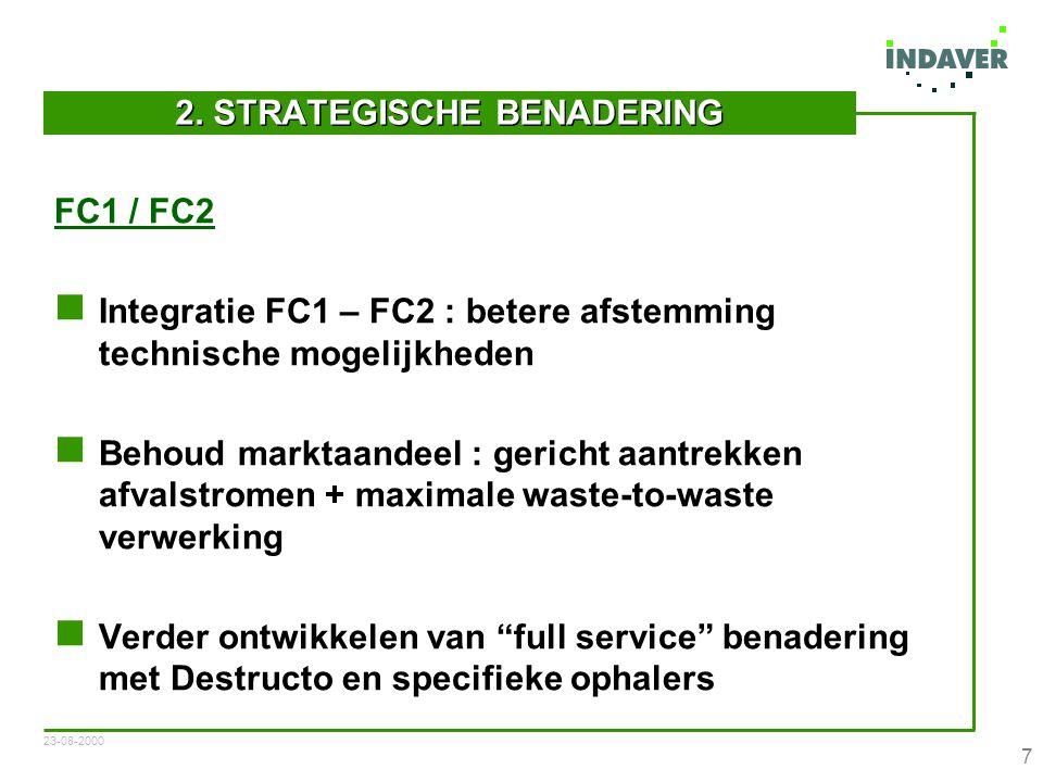23-08-2000 8 Uitwerken positie tov organisch belaste stromen (FC1) Receptuuroptimalisatie (FC2) Contracteren totaaloplossingen voor verbrandingsresidues by HVVI's (FC2) Herevaluatie verwerkingslokatie (Antwerpen / Beveren) ikv wijzigingen interne volumes (RO3 / WBO)