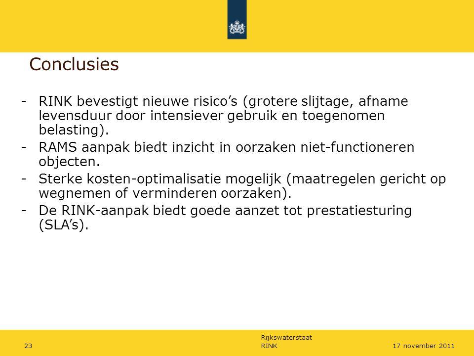 Rijkswaterstaat RINK2317 november 2011 Conclusies -RINK bevestigt nieuwe risico's (grotere slijtage, afname levensduur door intensiever gebruik en toe