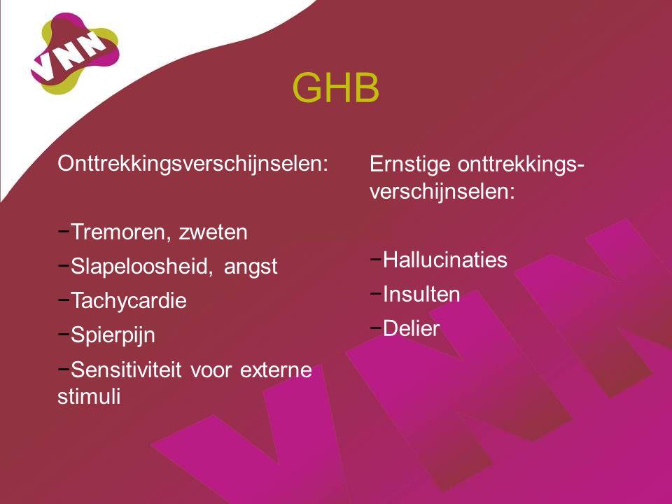 GHB Onttrekkingsverschijnselen: −Tremoren, zweten −Slapeloosheid, angst −Tachycardie −Spierpijn −Sensitiviteit voor externe stimuli Ernstige onttrekkings- verschijnselen: −Hallucinaties −Insulten −Delier