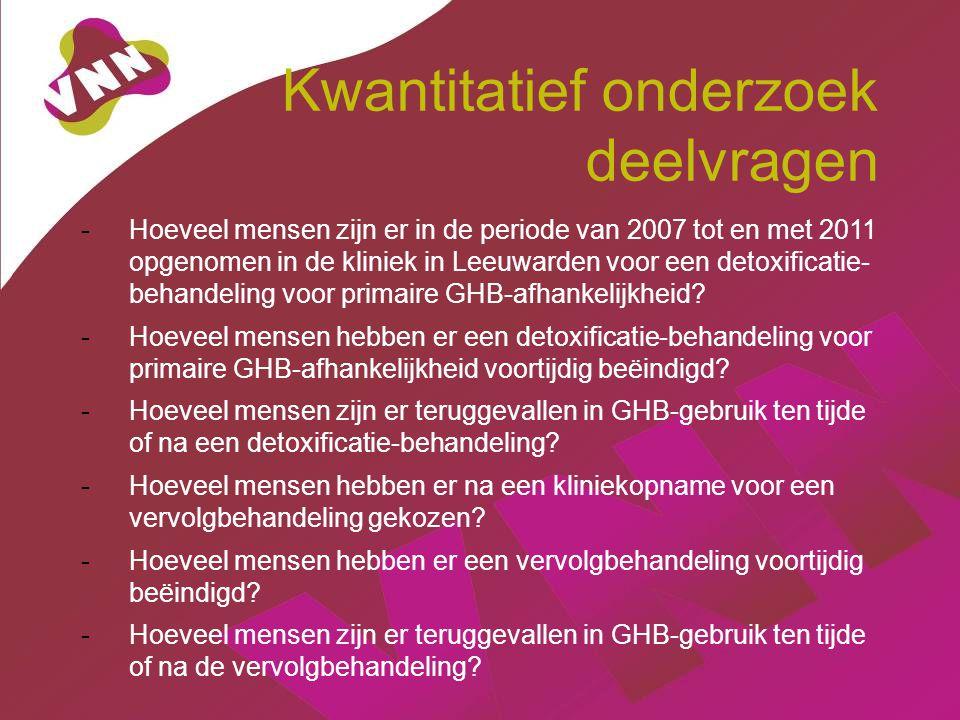 Kwantitatief onderzoek deelvragen -Hoeveel mensen zijn er in de periode van 2007 tot en met 2011 opgenomen in de kliniek in Leeuwarden voor een detoxificatie- behandeling voor primaire GHB-afhankelijkheid.