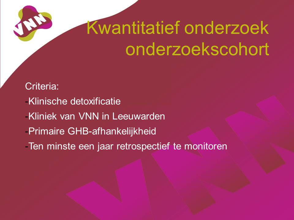 Kwantitatief onderzoek onderzoekscohort Criteria: -Klinische detoxificatie -Kliniek van VNN in Leeuwarden -Primaire GHB-afhankelijkheid -Ten minste ee