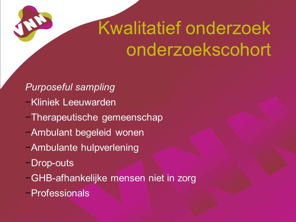 Kwalitatief onderzoek onderzoekscohort Purposeful sampling −Kliniek Leeuwarden −Therapeutische gemeenschap −Ambulant begeleid wonen −Ambulante hulpver