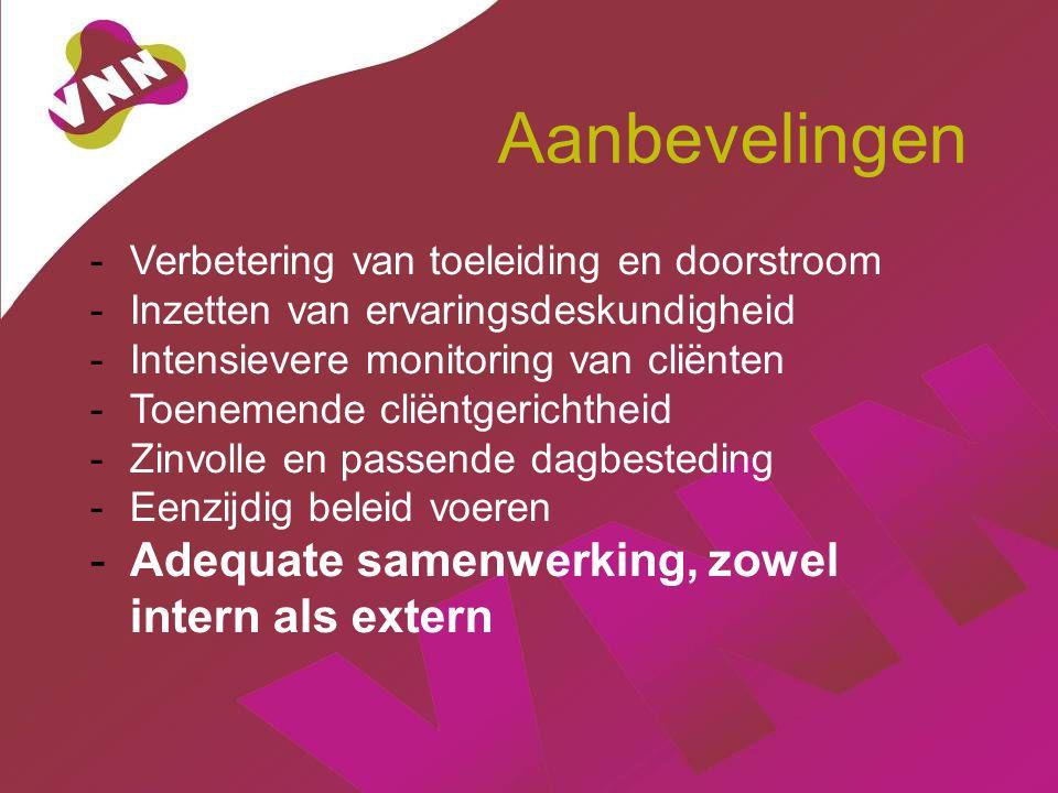 Aanbevelingen -Verbetering van toeleiding en doorstroom -Inzetten van ervaringsdeskundigheid -Intensievere monitoring van cliënten -Toenemende cliëntgerichtheid -Zinvolle en passende dagbesteding -Eenzijdig beleid voeren -Adequate samenwerking, zowel intern als extern