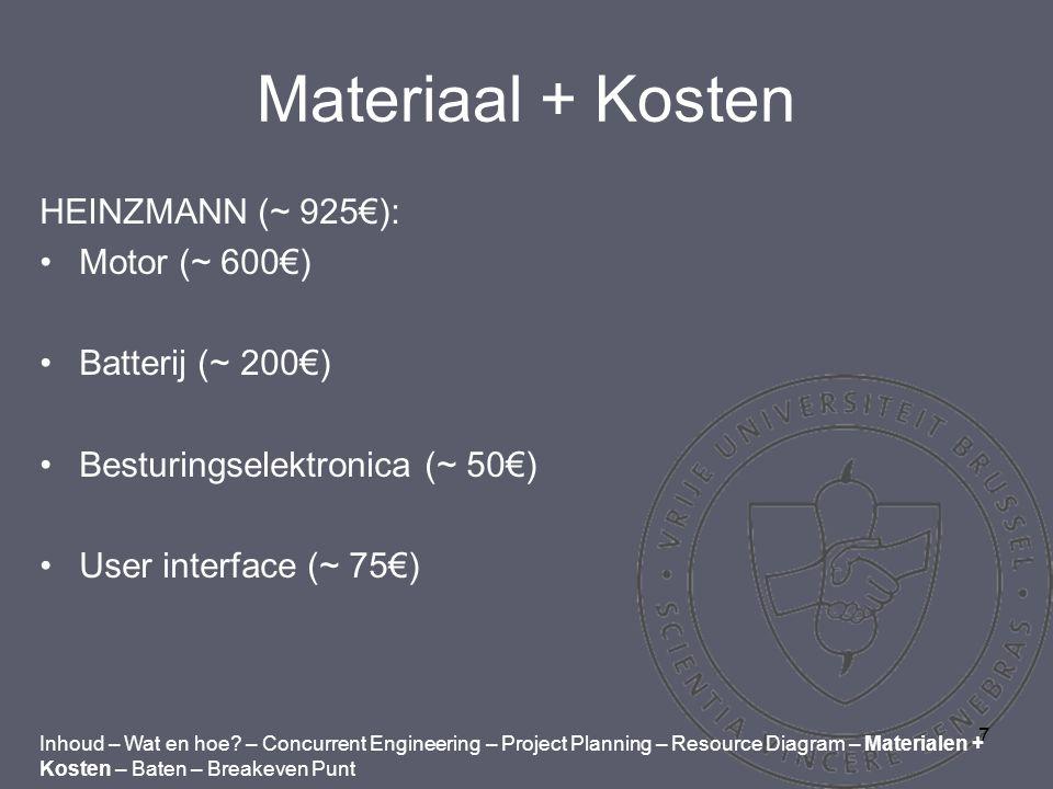7 Materiaal + Kosten HEINZMANN (~ 925€): Motor (~ 600€) Batterij (~ 200€) Besturingselektronica (~ 50€) User interface (~ 75€) Inhoud – Wat en hoe.
