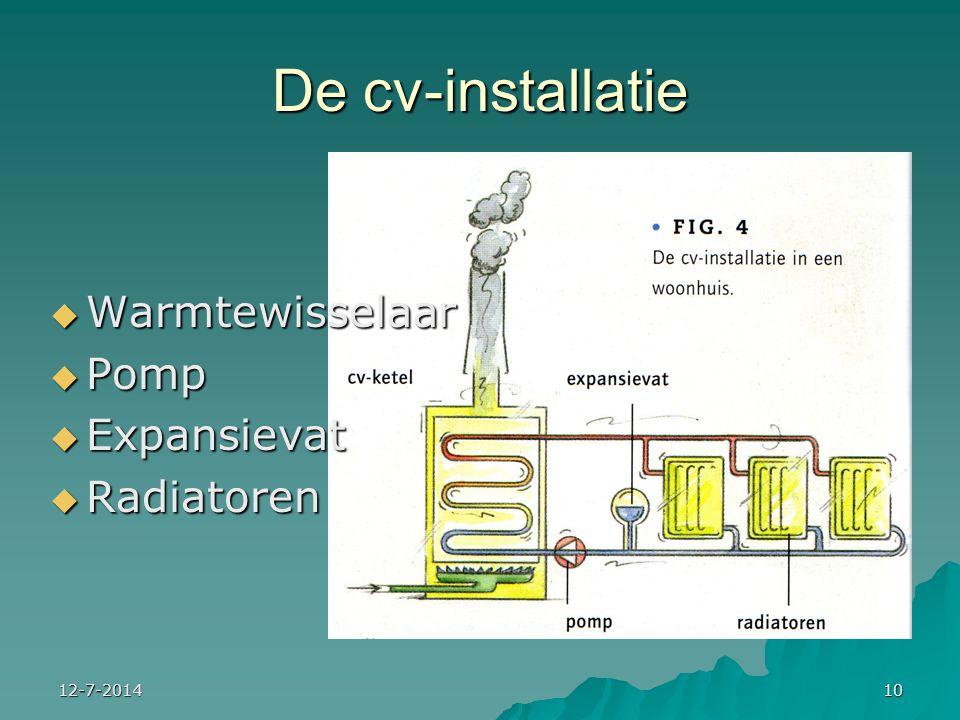 12-7-201410 De cv-installatie  Warmtewisselaar  Pomp  Expansievat  Radiatoren