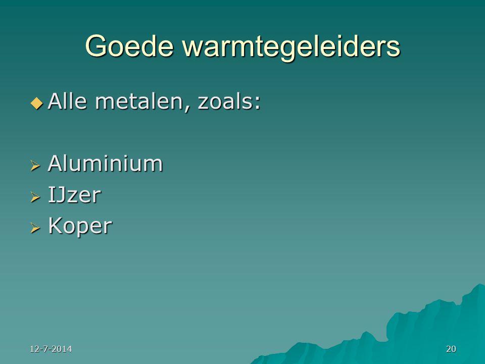 12-7-201420 Goede warmtegeleiders  Alle metalen, zoals:  Aluminium  IJzer  Koper