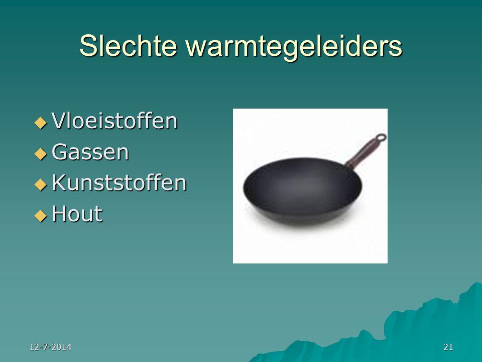 12-7-201421 Slechte warmtegeleiders  Vloeistoffen  Gassen  Kunststoffen  Hout