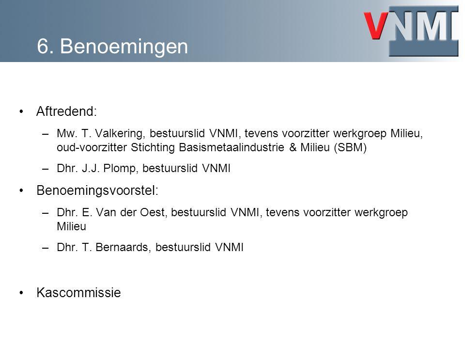 Aftredend: –Mw. T. Valkering, bestuurslid VNMI, tevens voorzitter werkgroep Milieu, oud-voorzitter Stichting Basismetaalindustrie & Milieu (SBM) –Dhr.