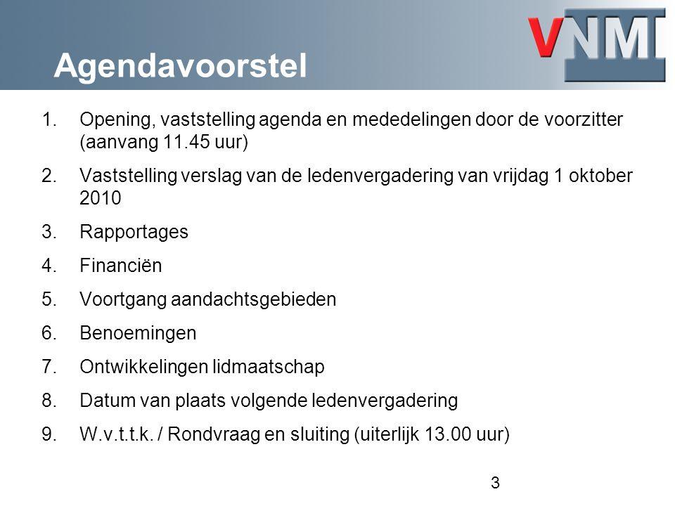 Agendavoorstel 1.Opening, vaststelling agenda en mededelingen door de voorzitter (aanvang 11.45 uur) 2.Vaststelling verslag van de ledenvergadering va