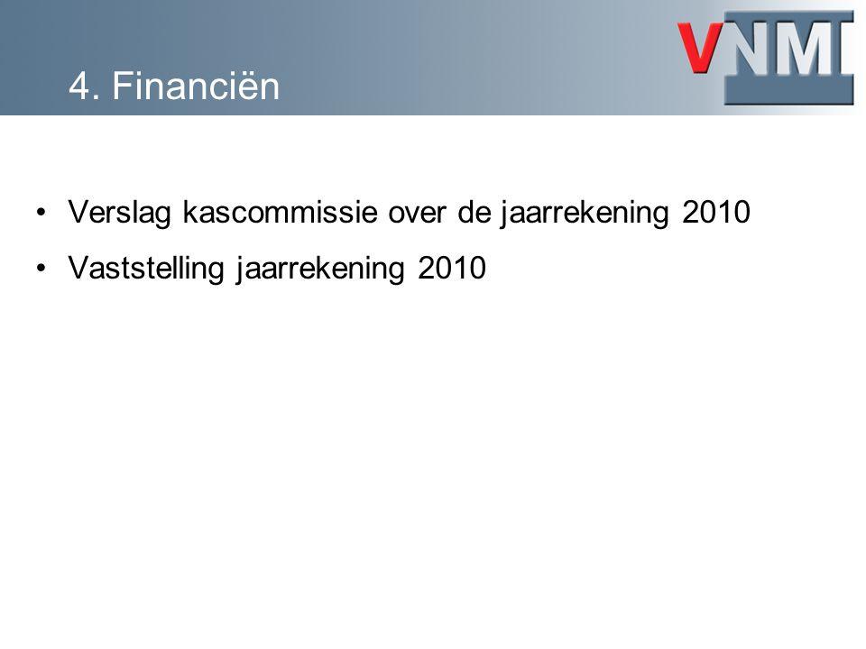 Verslag kascommissie over de jaarrekening 2010 Vaststelling jaarrekening 2010
