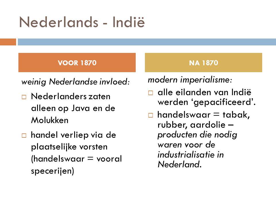 Nederlands - Indië weinig Nederlandse invloed:  Nederlanders zaten alleen op Java en de Molukken  handel verliep via de plaatselijke vorsten (handel