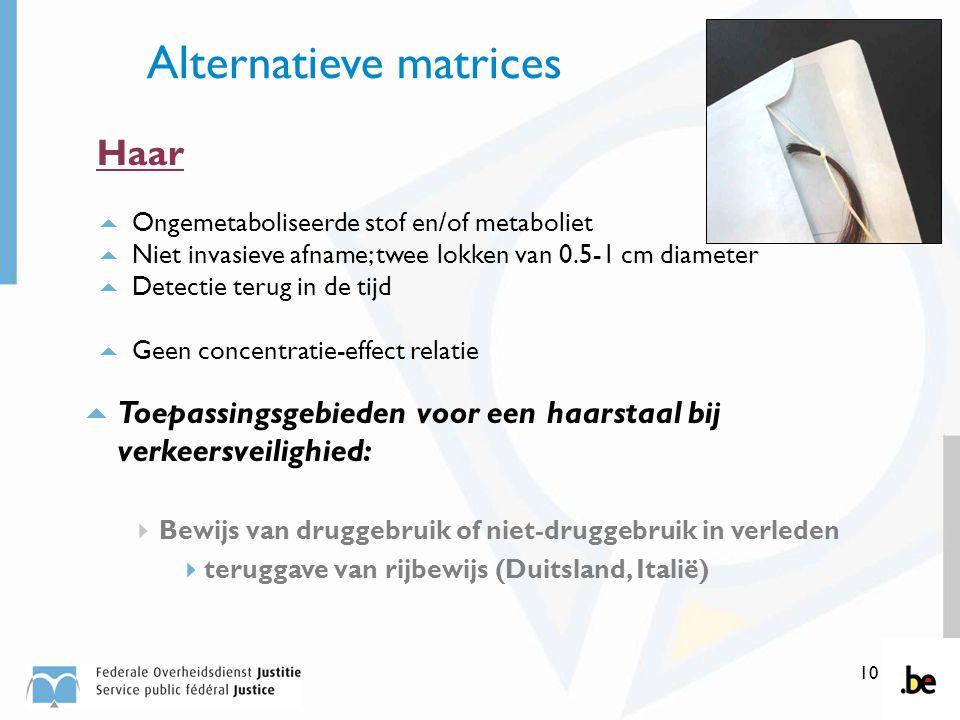 10 Alternatieve matrices Haar  Ongemetaboliseerde stof en/of metaboliet  Niet invasieve afname; twee lokken van 0.5-1 cm diameter  Detectie terug i