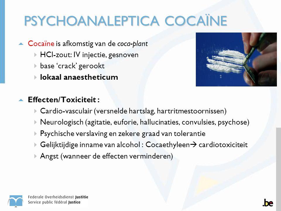  Cocaïne is afkomstig van de coca-plant  HCl-zout: IV injectie, gesnoven  base 'crack' gerookt  lokaal anaestheticum  Effecten/Toxiciteit :  Car