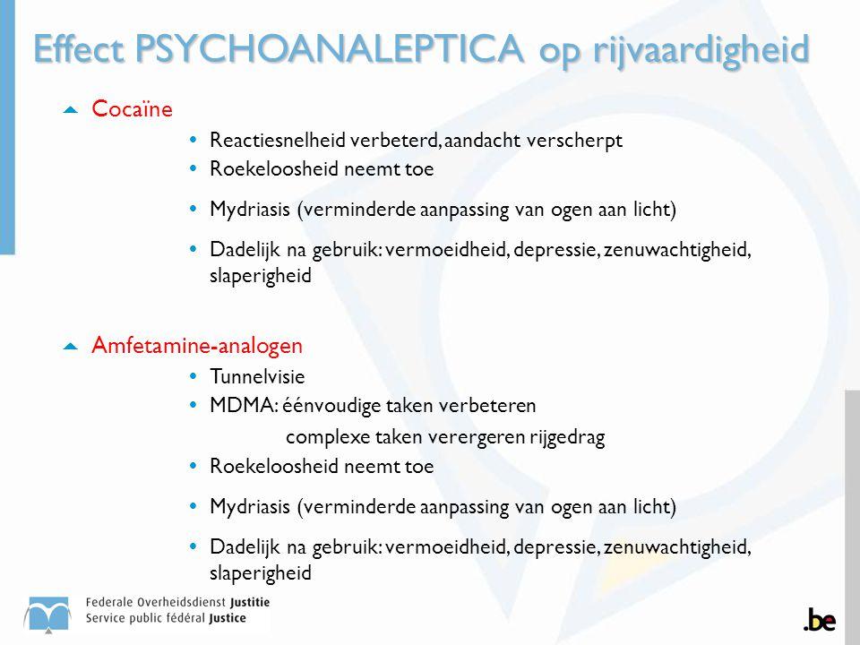  Cocaïne  Reactiesnelheid verbeterd, aandacht verscherpt  Roekeloosheid neemt toe  Mydriasis (verminderde aanpassing van ogen aan licht)  Dadelij