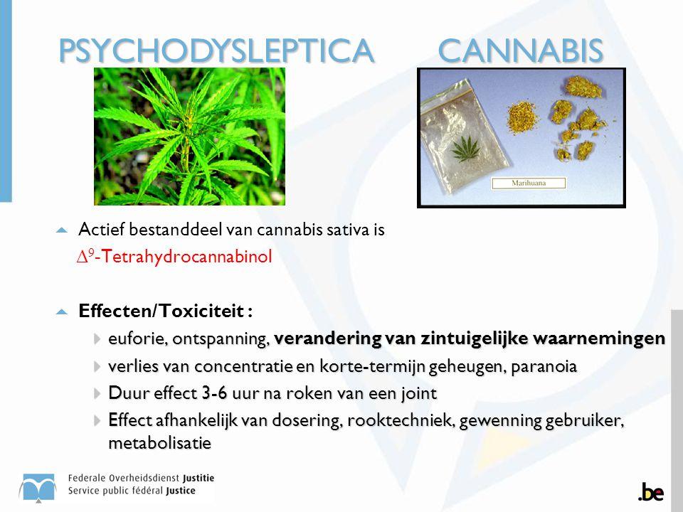  Actief bestanddeel van cannabis sativa is Δ 9 - Tetrahydrocannabinol  Effecten/Toxiciteit :  euforie, ontspanning, verandering van zintuigelijke w